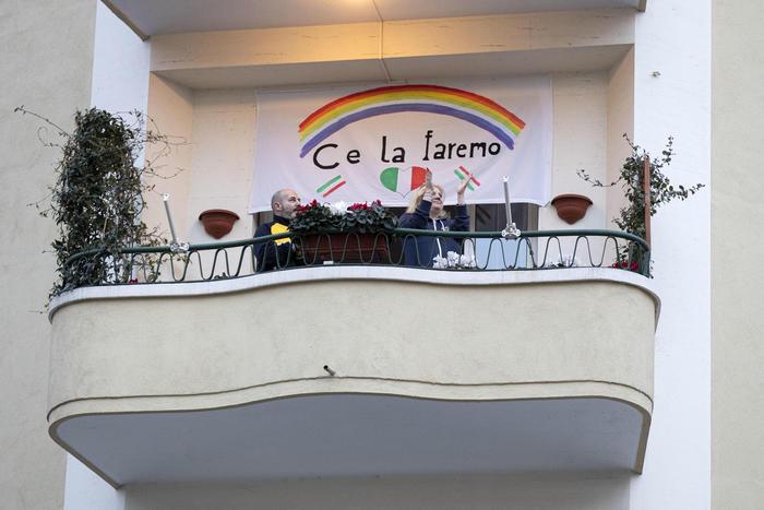 Coronavirus Italians at the balcony